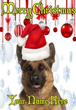 Pastore tedesco PTCC 153 Cappello Babbo Natale Natale Card A5 Personalizzate Saluti