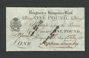 RINGWOOD & HAMPSHIRE BANK  £1  1821   PROVINCIAL NOTE  O.1788b
