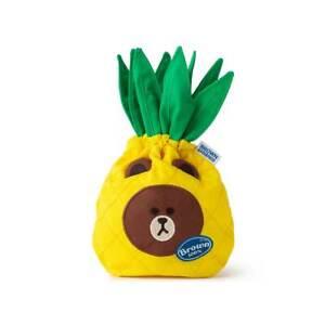 Korean LINE FRIENDS BROWN Bear Fruity Pineapple Fruit Drawstring Cinch Pouch NWT