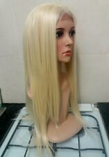 Blonde Human Hair, Wig, Blend, 613, Long, bleach blonde, front lace