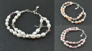 Freshwater Pearl & Sterling Silver S925 Bracelets Pink Peach White