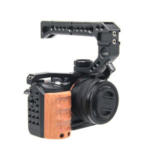 For Sony A7C Wooden Cage Rig Nato Rail Arca Swiss Plate Hand Grip With Handle