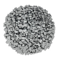 100 Hellgrau Lego Steine 1x2 - Brick Mauersteine Neu Hellgrau - 98283