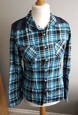 Ladies XL 12/14 CONVERSE ALL STAR Roll Up Sleeve Cowboy Shirt Blouse (LC18)