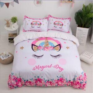 Girls Unicorn Duvet Quilt Cover Kids Bedding Set Pink SINGLE BED - UK STOCKIST
