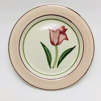 "Hartstone Pottery Early Romance Salad Plate 7.75"" Tulip Flower Pink Blue"