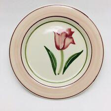"Hartstone Pottery Early Romance Salad Plate 7.75"" Tulip Flower Pink Blue"