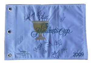 Phil Mickelson & USA Team Signed Presidents Cup Golf Flag PGA US Open Masters