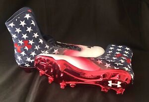 """WOUNDED WARRIOR PROJECT- UNDER ARMOUR PATRIOTIC HIGHLIGHT """"STARS"""" CLEATS- Sz 15"""