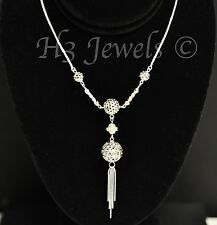 18k solid white gold heart lariat necklace 18 inches  dangling  h3jewels #2100