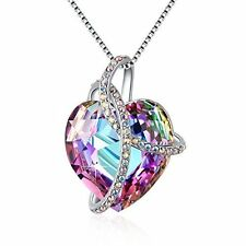 Mothers Day Gifts Gift For Mother Mom Necklace Pendant Unique Purple Crystal NEW