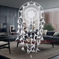 40cm Weiß Dreamcatcher Traumfänger Indianer Federn Träume Zuhause Dekoration NEU