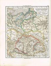 Karte OSTEUROPA / POLEN / UNGARN / SIEBENBÜRGEN, Original-Graphik 1874
