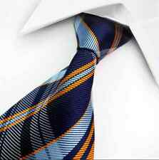 Men's Classic Blue Orange Check Tie Fashion Jacquard Woven Silk Suits Necktie HS