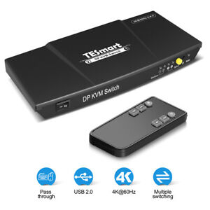 TESmart 2-Port DisplayPort KVM Switch Support 3840*2160@60Hz EDID USB devices