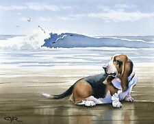 BASSET HOUND AT THE BEACH Watercolor Art Print Signed by Artist DJ Rogers
