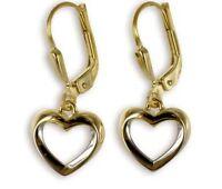 ECHT GOLD *** Ohrringe Ohrhänger Herz bicolor, 23 mm