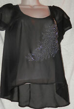 NEW VOUS COUTURE SIZE XS CHIFFON HI-LO OPEN SHOULDER FEATHER STUD TOP