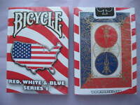 Rare Bicycle Red White & Blue Deck Series 1 Playing Cards Magic USA Map Design