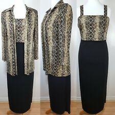 Joseph Ribkoff Vintage 70's Black Animal Print Maxi Dress & Jacket Size 14