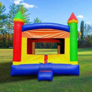 Kids Inflatable Bounce House With Blower Residential Rainbow Vinyl Jump Castle