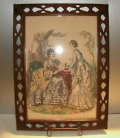 "Vtg Antique Paris Fashion Print Walnut Wood Folk Art Frame 19"" x 14"""