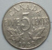 1928 CANADA  5 Cent Nickel Coin KING GEORGE V PN#5