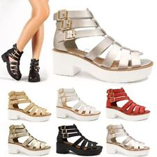 Women's 100% Leather Gladiators Block Sandals & Beach Shoes