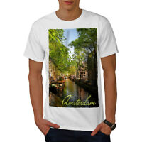 Wellcoda Canal Tree Amsterdam Mens T-shirt, Town Graphic Design Printed Tee