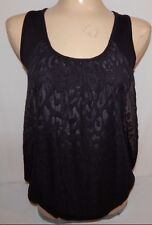 Bobeau Womens Size S Black Sheer Leopard Blouse Top Sleeveless