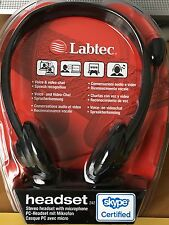 Labtec 242 PC Black Stereo Headset with Microphone Skype Certified Office Home