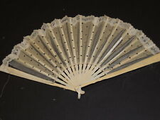 Beautiful Victorian Carved Spangled Silk Hand Fan w Brussels Lace Trim as is