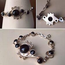 Antique Vintage Victorian Black Cabochon Onyx Sterling Silver Feminine Bracelet