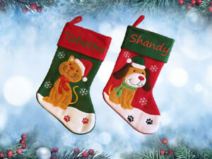 Personalised Pet Cat Dog Xmas Embroidered Christmas Stocking Treats Name Paws
