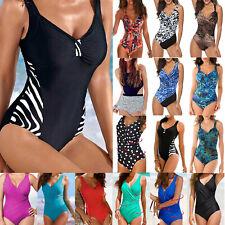 Plus Size Women One Piece Monokini Swimwear Padded Swimsuit Beach Bathing Suit