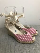 Nine West Sandals Pink Stripe Espadrille Wedges Open Toe Ankle Strap Size 6