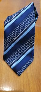 "Ermenegildo Zegna Navy Striped Silk Tie 60"" Long Made In Italy"