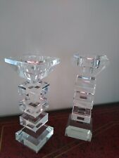 Two Glass Candle Holders Beautiful Excellent condition