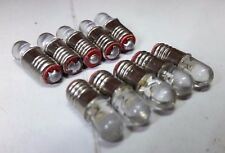 10x 12V E5 LES Lilliput LED Miniature Green Light Signal Screw G Scale Bulbs