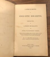 RARE - 1855 Course of Practice Single-Entry Bookkeeping  - ANTIQUE ACCOUNTING