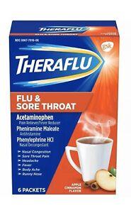 Theraflu Flu & Sore Throat Medicine, Apple Cinnamon Flavor, 6 Packets