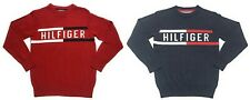 Set of 2 Tommy Hilfiger Spell Out Pullover Sweaters Red Blue Boys Size M 12/14