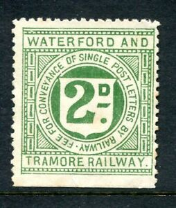 """GB / Ireland """"Waterford and Tramore"""" 2d. green Railway Letter stamp, unused"""