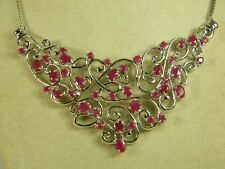 NECKLACE:  MAGNIFICENT NATURAL RED RUBY OVAL & ROUND 925 STERLING SILVER