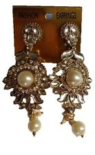 White Stunning Gold Statement Fashion Earrings Pearl Feature Beads Accents NEW