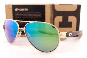 New Costa Del Mar Sunglasses LORETO Rose Gold Tortoise Green Mirror 580G Polar