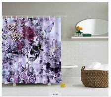 "Flower Skull-Fabric Bathroom Shower Curtain Liner-waterproof-150cmx180cm-60x72"""