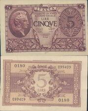 LUOGOTENENZA 5 LIRE ATENA ELMATA DEC.23/11/1944  F.D.S. ALB.