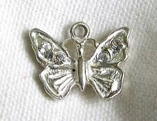 Jewel Butterfly Charm Monarch Vintage Estate Sterling Silver Crystal