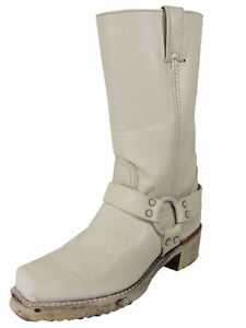 $378 Frye Womens Harness 12R Pull On Square Toe Boots, White, US 9